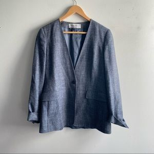 MaxMara blue silk linen wool collarless blazer